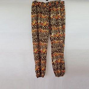 Ashley Stewart Brown Orange Animal Print Pants